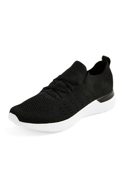 Black Recycled Knit Trainers