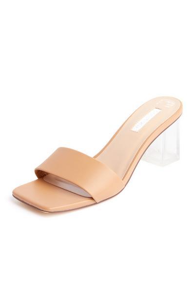 Sandálias salto alto perspex tira justa bege