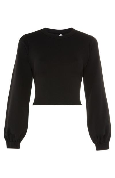 Black Balloon Sleeve Open Back Jumper