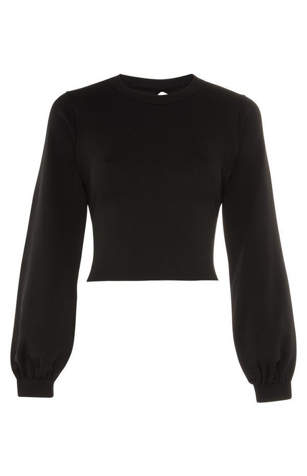 Črn pulover s širokimi rokavi in odprtim hrbtom
