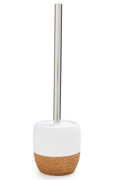 White Rope Base Elevated Toilet Brush