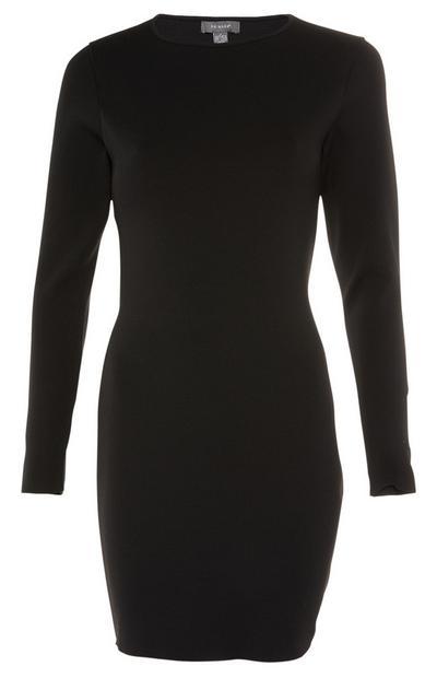 Black Open Back Longsleeve Dress