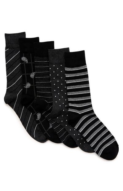 3-Pack Black Multi Socks