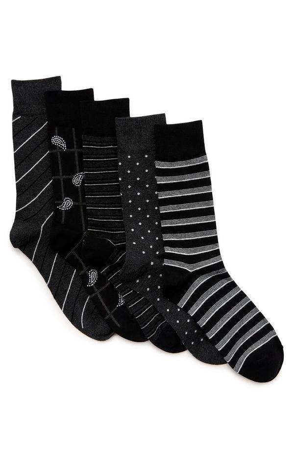 Vzorčaste črne nogavice, 3 pari