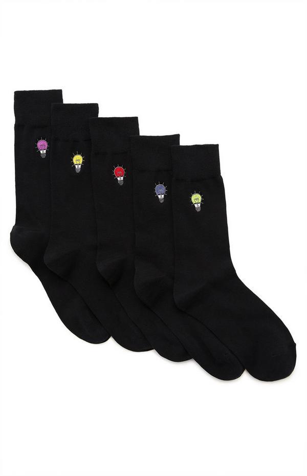 5-Pack Black Lightbulb Embroidered Socks