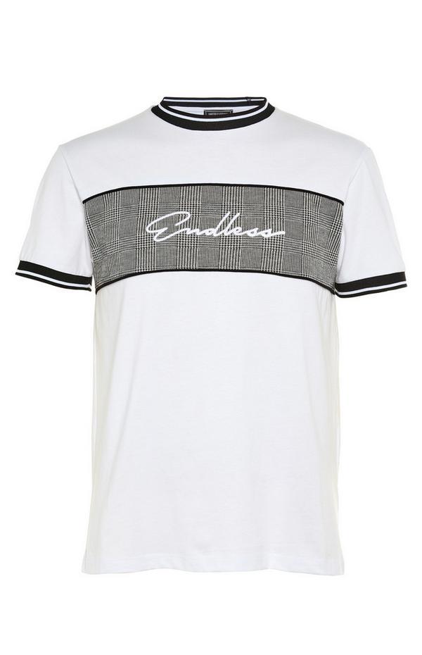 """Grau-weißes T-Shirt mit bedrucktem """"Endless""""-Einsatz"""