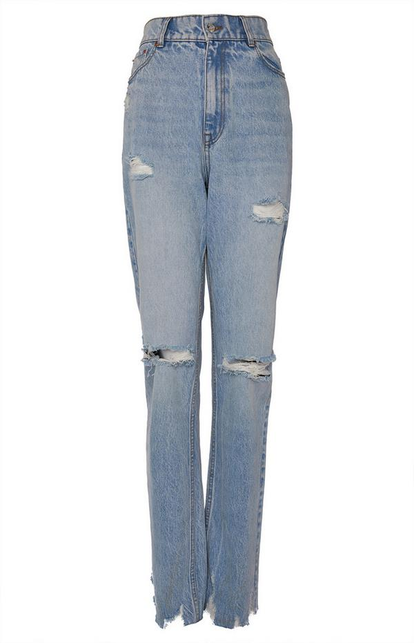 Jeans im 90er-Stil mit verblasster blauer Waschung und weitem Bein