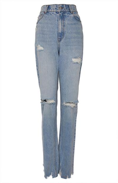 Faded Blue Wash 90s Wide Leg Denim Jeans