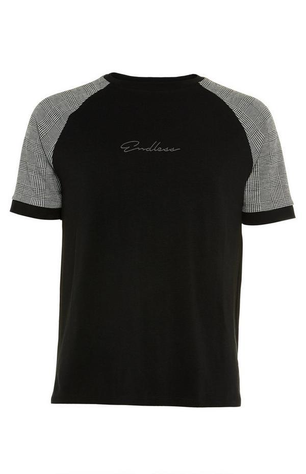 "Schwarz-graues Raglan-T-Shirt mit ""Endless"" Print"