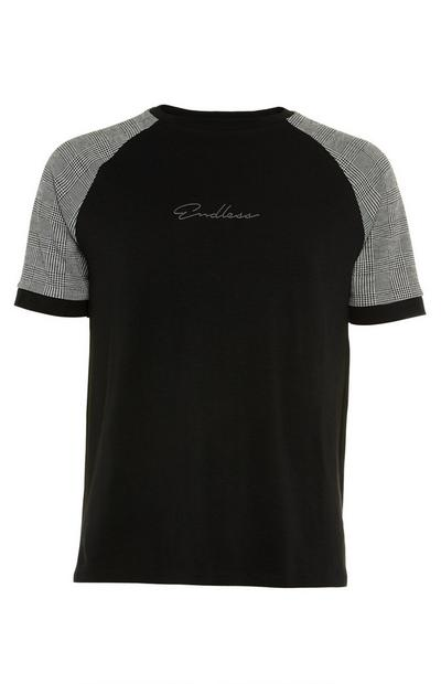 Black And Grey Endless Mono Raglan T-Shirt