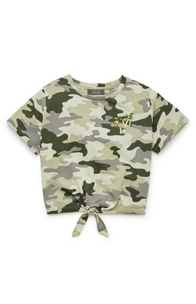 Older Girl Khaki Camouflage Sequin Tie Front Top