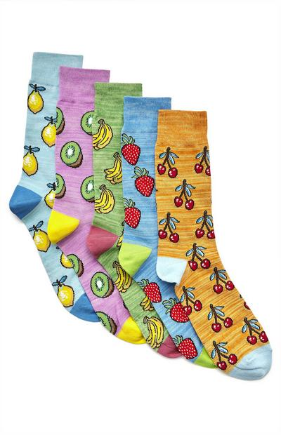 Večbarvne nogavice s sadjem, 5 parov