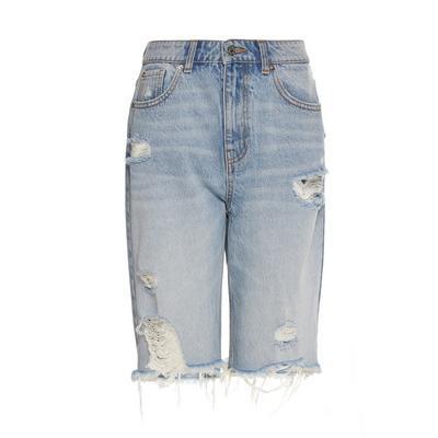 Blue Ripped Knee Length Denim Shorts