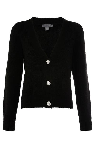 Black Puff Sleeve Jewel Button Cardigan
