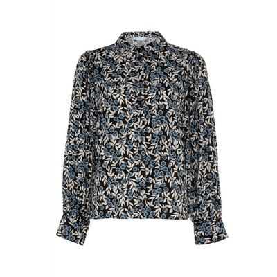 Black Print Viscose Blouson Sleeve Top