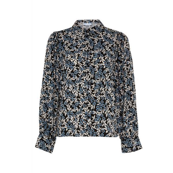Black Print Viscose Blouson Sleeve Top