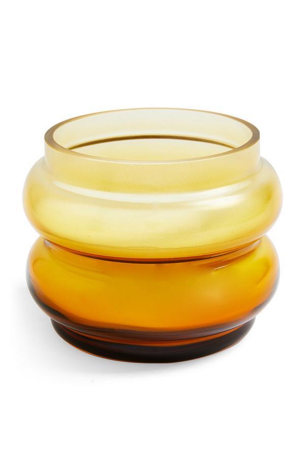 Candela ambrata a forma di bolla in vetro