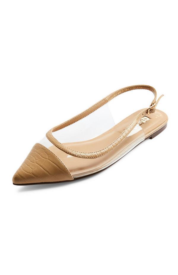 Beige Clear Toe Cap Flat Ballerina Shoes