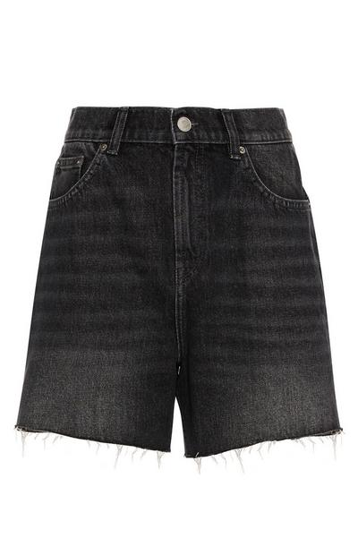 Black Wash Raw Hem Denim Shorts