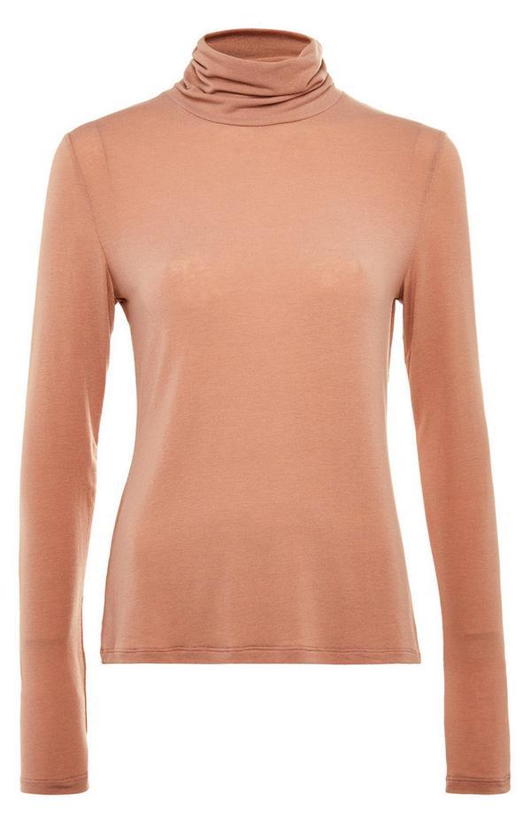 Premium majica s puli ovratnikom kamelje barve