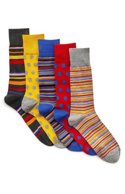 Večbarvne črtaste nogavice, 5 parov
