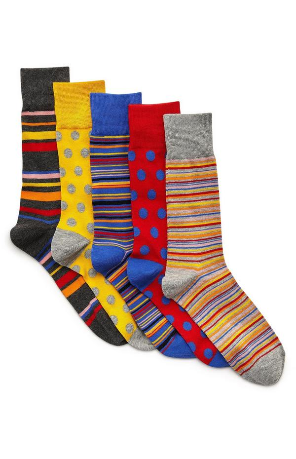 Sokken met strepen en andere prints, 5 paar