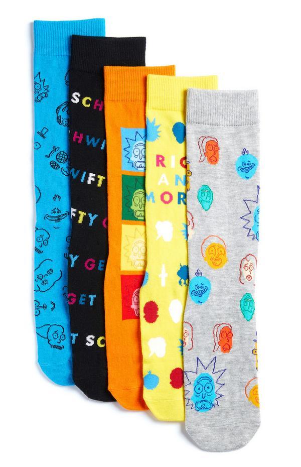 "Mehrfarbige ""Rick and Morty"" Socken, 5er-Pack"