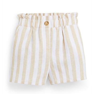 Younger Girl Beige Striped Shorts