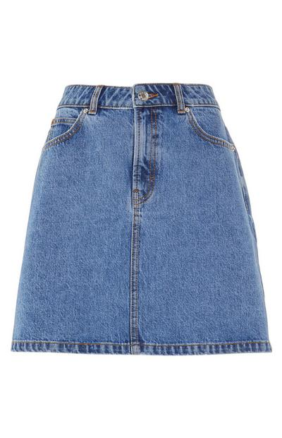 Basic Blue A Line Denim Skirt