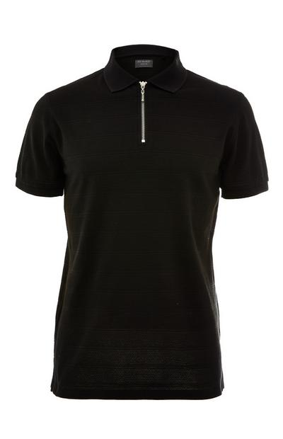 Zwart T-shirt met popcorntextuur en kraag met rits