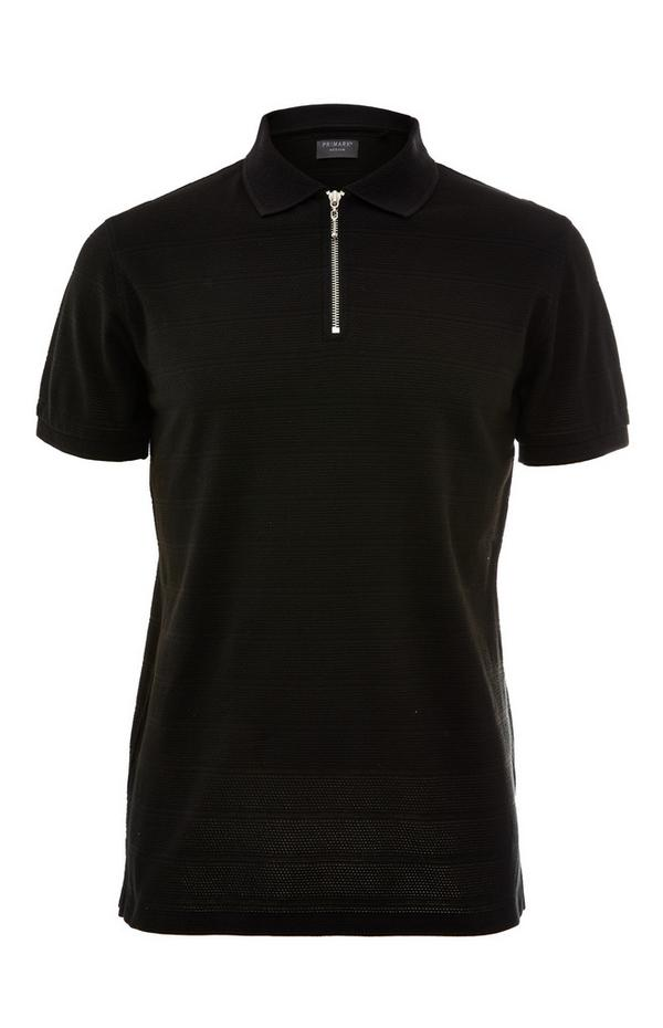 Black Popcorn Texture Zip Collar T-Shirt