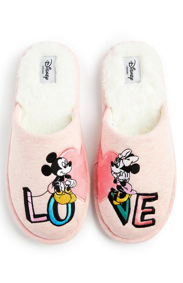 Disney Mickey And  Minnie Mouse Pink Heart Slippers