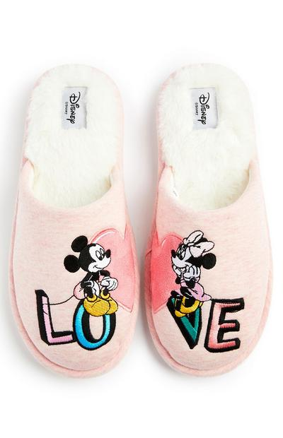 Chaussons cœur roses Disney Mickey et Minnie Mouse