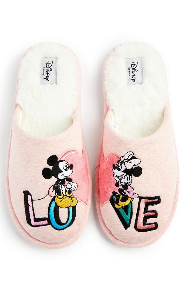 Roze pantoffels Disney Mickey & Minnie Mouse met hart