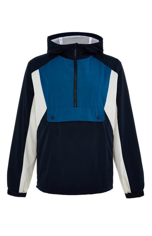 Black And Blue Colourblock Overhead Jacket