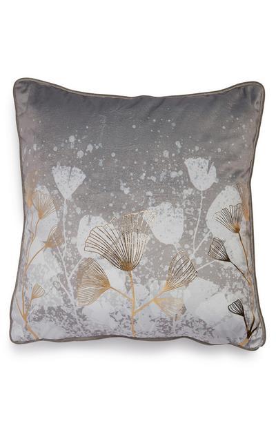 Grey Floral Foil Velvet Cushion