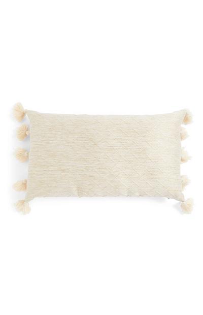 Oblong Cream Texture Tassel Cushion