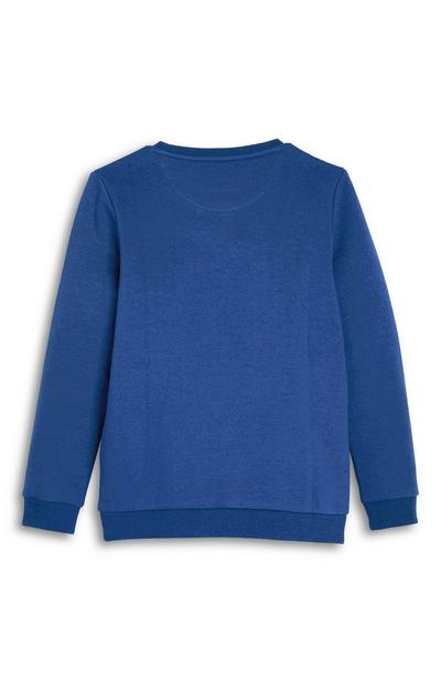 Sweat-shirt ras du cou bleu ado