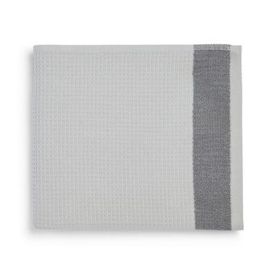 Grey Pleated Border Hand Towel