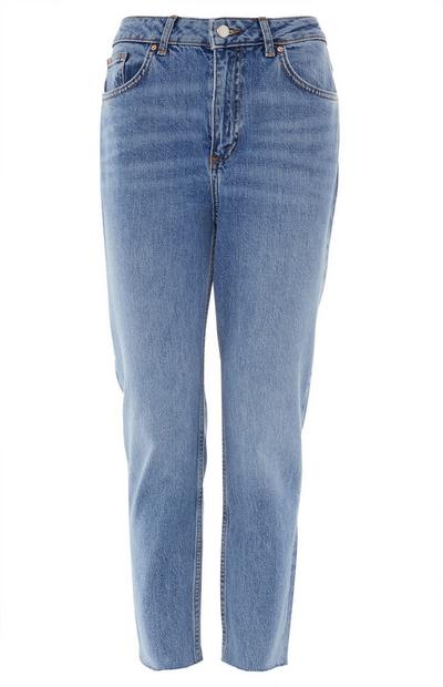 Mid Blue Slim Straight Leg Jeans