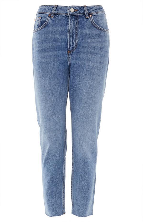 Mid-Blue Slim Straight Leg Jeans