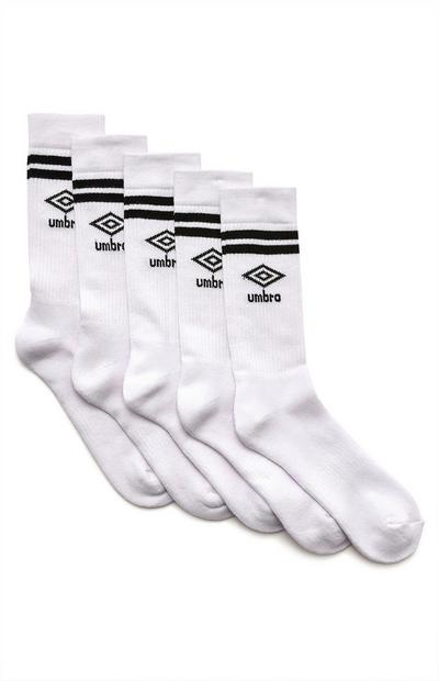 White Umbro Sports Socks 5 Pack