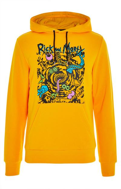 Sweat à capuche jaune Rick and Morty à col large