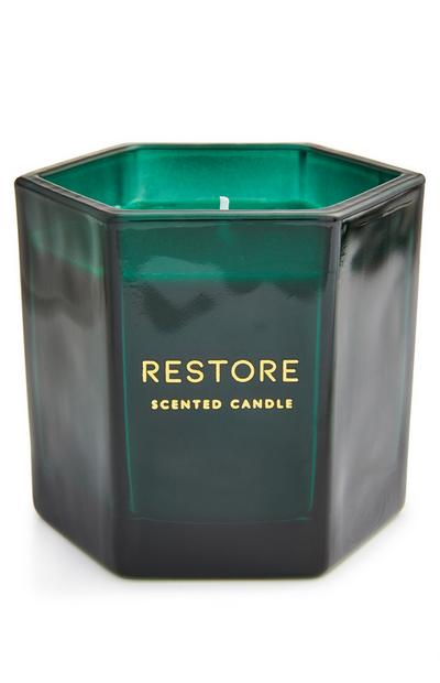 Restore Scented Candle In Green Glass Hex Votive