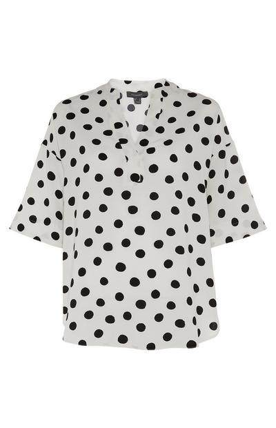 White Polka Dot Print Overhead Tunic