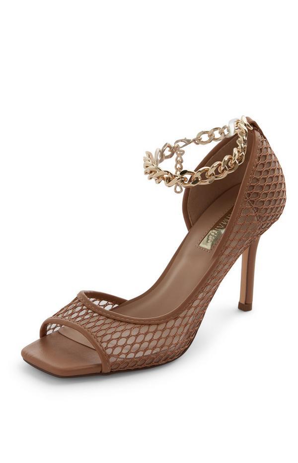 Décolleté marroni in mesh con catena alla caviglia