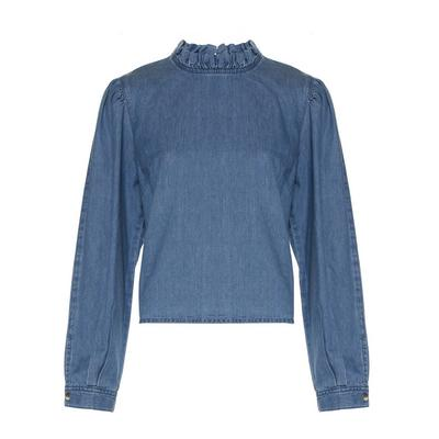 Blue Denim Frill Collar Long Sleeve Blouse