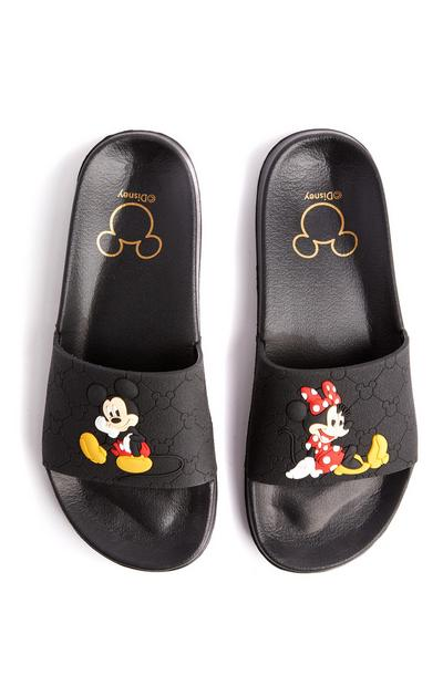 Black Disney Mickey And Minnie Mouse Monogram Slides