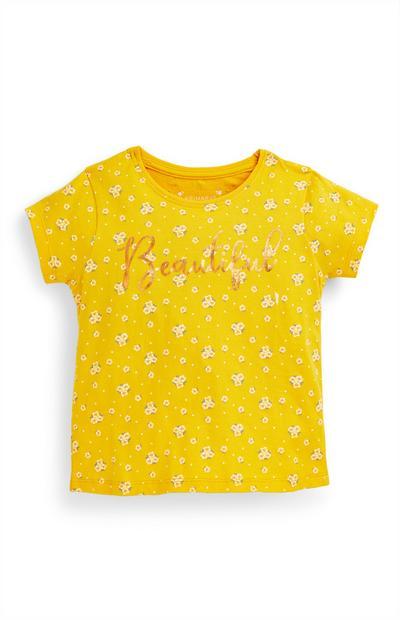 T-shirt slogan Beautiful menina amarelo