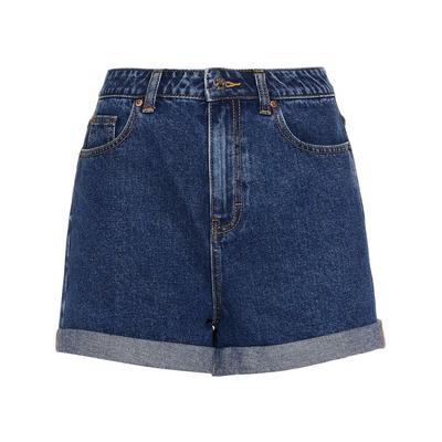 Short Mom en jean bleu foncé